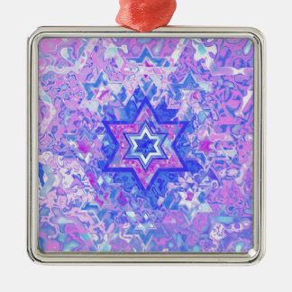 The Star of David... on marble. Silver-Colored Square Ornament