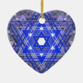 The Star of David Overlays. Ceramic Heart Ornament