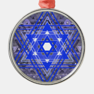 The Star of David Overlays. Silver-Colored Round Ornament
