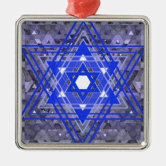 The Star of David Overlays. Silver-Colored Square Ornament