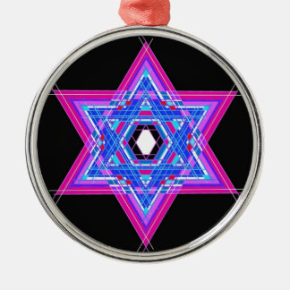 The Star of David Silver-Colored Round Ornament
