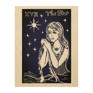 The Star Tarot Card Illustration Wood Wall Art