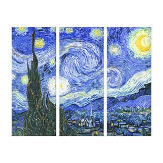 The Starry Night ~ Vincent van Gogh ~ Triptych Canvas Print