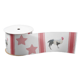 The Stars And Roosters Country Decor Satin Ribbon