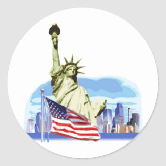 The statue of liberty in New York city Round Sticker