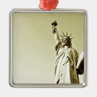 The statue of liberty Silver-Colored square ornament