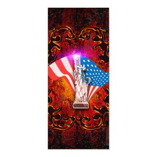 "The Statue of Liberty with decorative floral elmen 4"" X 9.25"" Invitation Card"