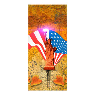 The Statue of Liberty with USA flag Customized Rack Card