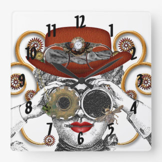 the steampunk funk funky guy square wall clock