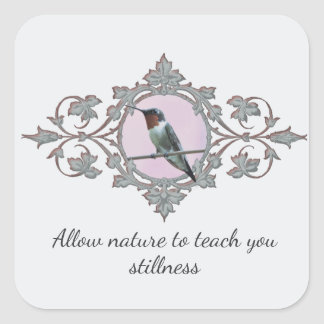 The Stillness of Nature, Ruby Throated Hummingbird Square Sticker