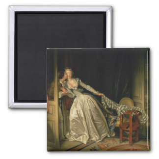 The Stolen Kiss by Jean-Honore Fragonard Square Magnet