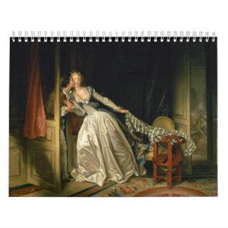 The Stolen Kiss by Jean-Honoré Fragonard Wall Calendars