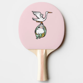 The Stork Carries a Baby Girl Ping Pong Paddle
