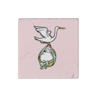 The Stork Carries a Baby Girl Stone Magnets