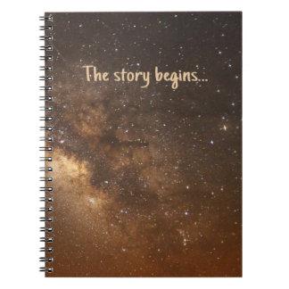 'The story begins' sky Notebook