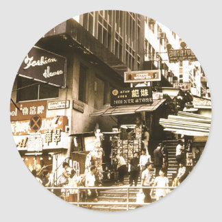 The streets of Old Hong Kong Classic Round Sticker