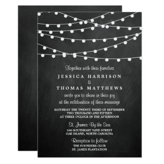 """The String Lights On Chalkboard Wedding Collection 5"""" X 7"""" Invitation Card"""