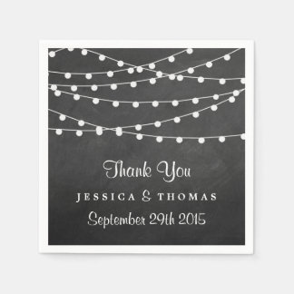The String Lights On Chalkboard Wedding Collection Disposable Napkins