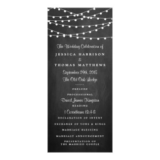 The String Lights On Chalkboard Wedding Collection Custom Rack Card