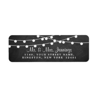 The String Lights On Chalkboard Wedding Collection Return Address Label