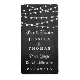 The String Lights On Chalkboard Wedding Collection Shipping Label