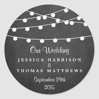 The String Lights On Chalkboard Wedding Collection Round Stickers