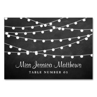 The String Lights On Chalkboard Wedding Collection Table Cards
