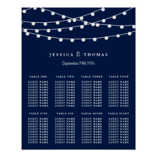 The String Lights On Navy Blue Wedding Collection Poster