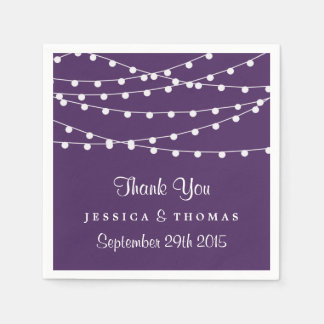 The String Lights On Purple Wedding Collection Disposable Napkin
