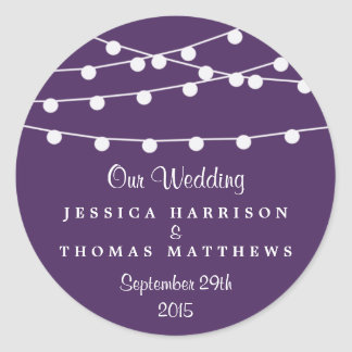 The String Lights On Purple Wedding Collection Round Sticker