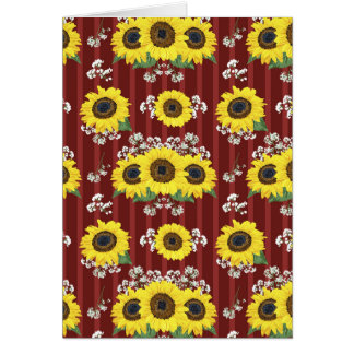 The Striped Red Fresh Sunflower Seamless Pattern Card