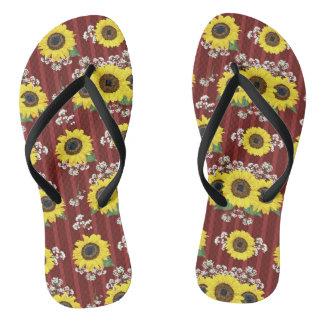 The Striped Red Fresh Sunflower Seamless Pattern Flip Flops