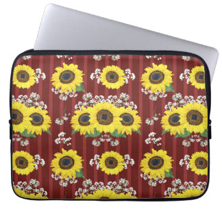 The Striped Red Fresh Sunflower Seamless Pattern Laptop Sleeve