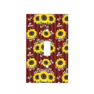 The Striped Red Fresh Sunflower Seamless Pattern Light Switch Cover