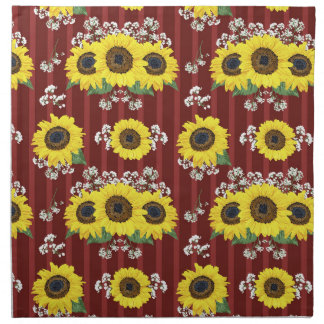 The Striped Red Fresh Sunflower Seamless Pattern Napkin