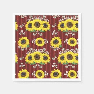 The Striped Red Fresh Sunflower Seamless Pattern Napkin