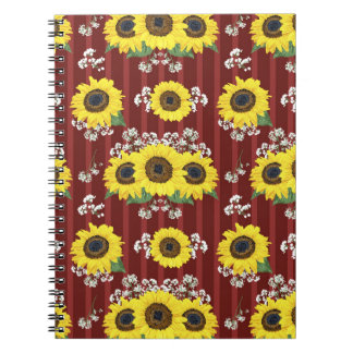The Striped Red Fresh Sunflower Seamless Pattern Notebook