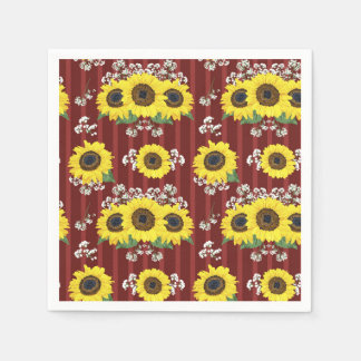 The Striped Red Fresh Sunflower Seamless Pattern Paper Napkins