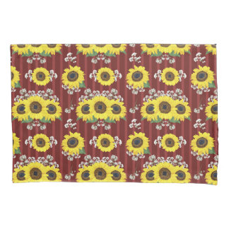 The Striped Red Fresh Sunflower Seamless Pattern Pillowcase
