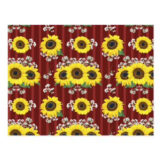 The Striped Red Fresh Sunflower Seamless Pattern Postcard