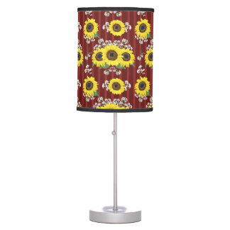 The Striped Red Fresh Sunflower Seamless Pattern Table Lamp
