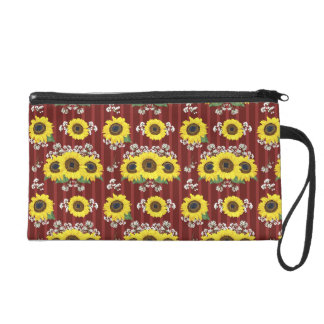 The Striped Red Fresh Sunflower Seamless Pattern Wristlet