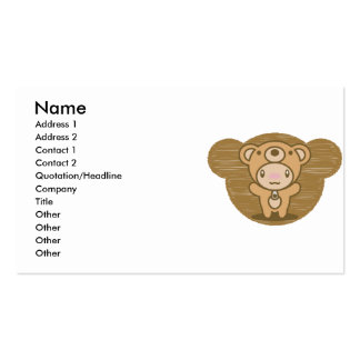 The stuffed toy of the bear pack of standard business cards
