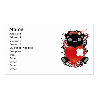 The stuffed toy of the cat pack of standard business cards
