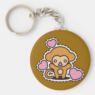 The stuffed toy of the monkey basic round button keychain