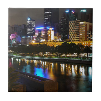 The Stunning Yarra And Melbourne Skyline at Night Ceramic Tile