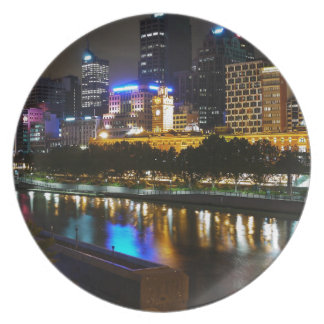 The Stunning Yarra And Melbourne Skyline at Night Dinner Plate