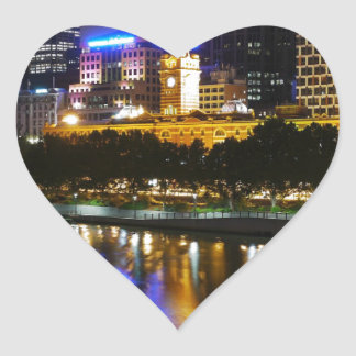 The Stunning Yarra And Melbourne Skyline at Night Heart Sticker