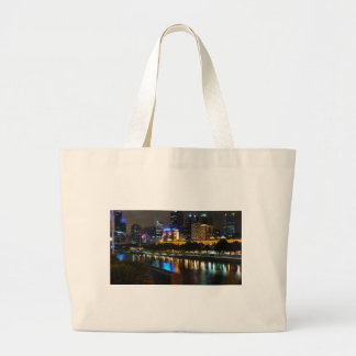 The Stunning Yarra And Melbourne Skyline at Night Large Tote Bag