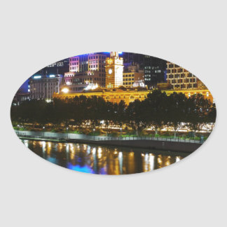The Stunning Yarra And Melbourne Skyline at Night Oval Sticker